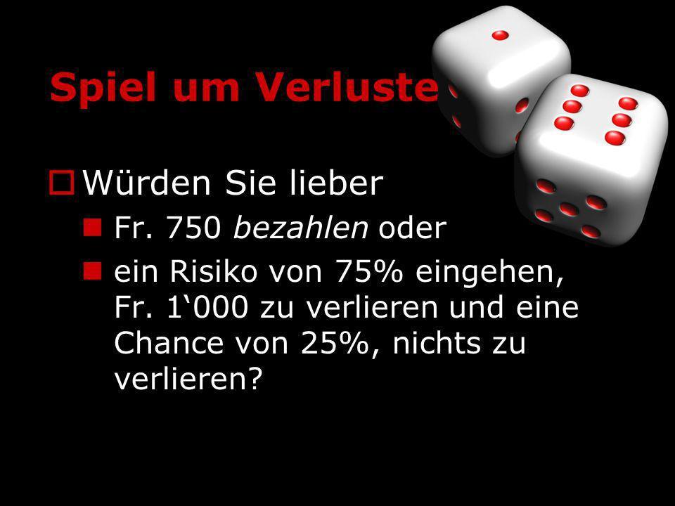 Spiel um Verluste Würden Sie lieber Fr. 750 bezahlen oder