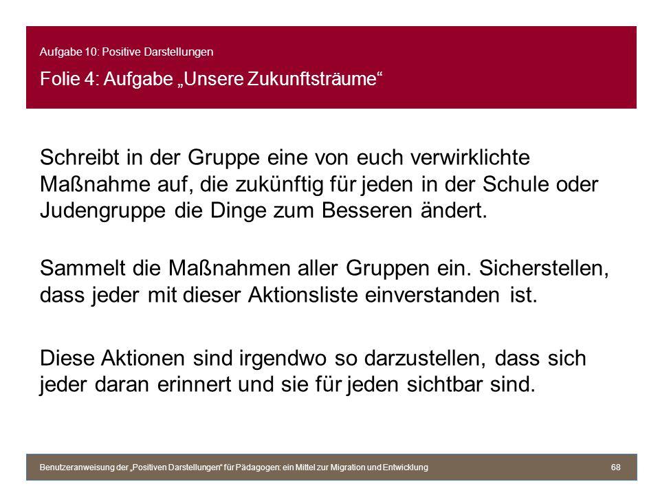 """Aufgabe 10: Positive Darstellungen Folie 4: Aufgabe """"Unsere Zukunftsträume"""