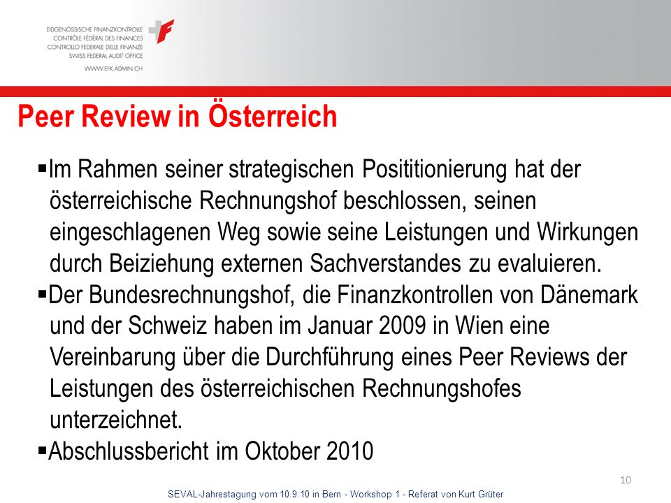 Peer Review in Österreich