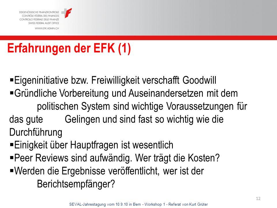 Erfahrungen der EFK (1) Eigeninitiative bzw. Freiwilligkeit verschafft Goodwill.