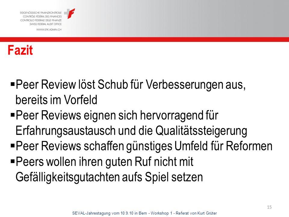 Fazit Peer Review löst Schub für Verbesserungen aus, bereits im Vorfeld.