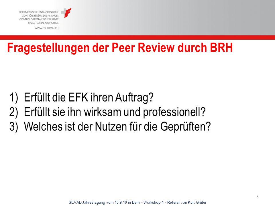 Fragestellungen der Peer Review durch BRH