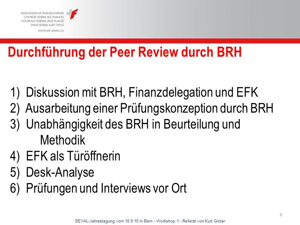 Durchführung der Peer Review durch BRH
