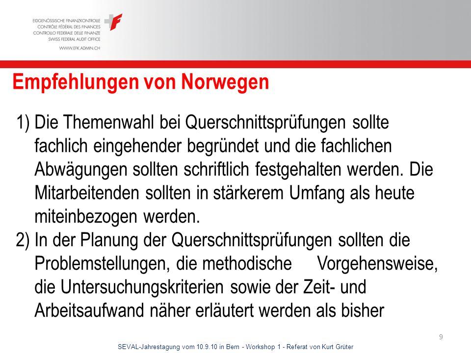 Empfehlungen von Norwegen