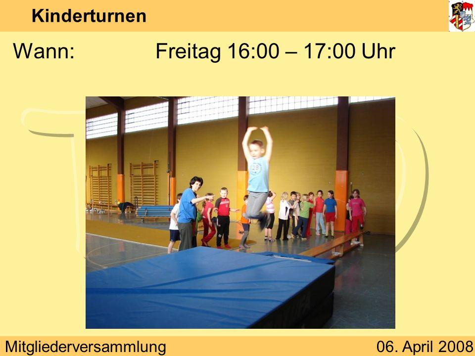 Kinderturnen Wann: Freitag 16:00 – 17:00 Uhr