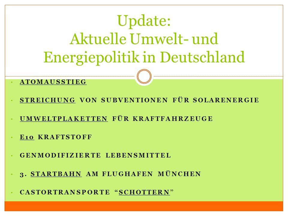 Update: Aktuelle Umwelt- und Energiepolitik in Deutschland