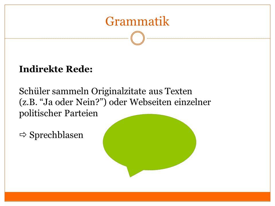 Grammatik Indirekte Rede: Schüler sammeln Originalzitate aus Texten