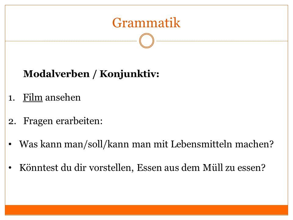 Grammatik Modalverben / Konjunktiv: Film ansehen 2. Fragen erarbeiten: