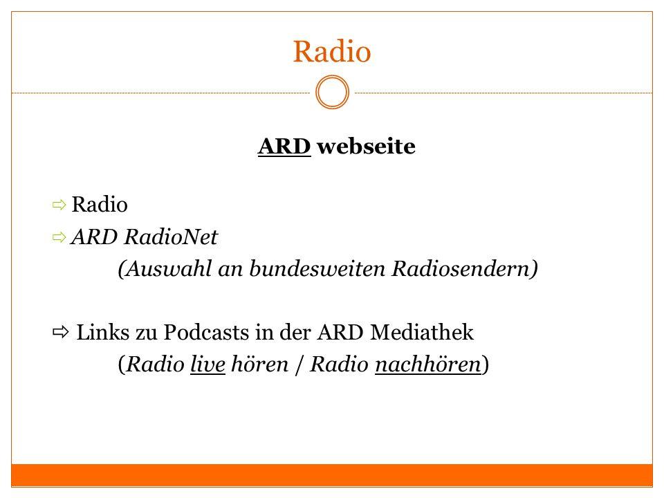 Radio ARD webseite Radio ARD RadioNet