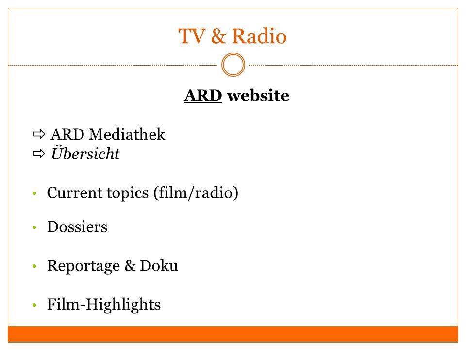TV & Radio ARD website  ARD Mediathek  Übersicht