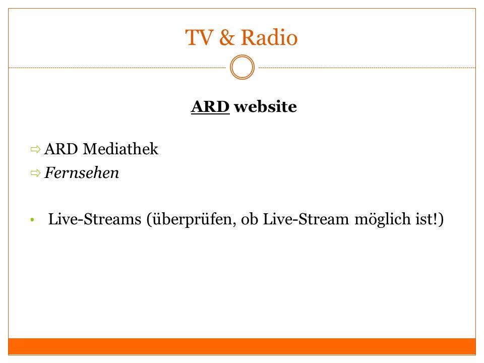 TV & Radio ARD website ARD Mediathek Fernsehen