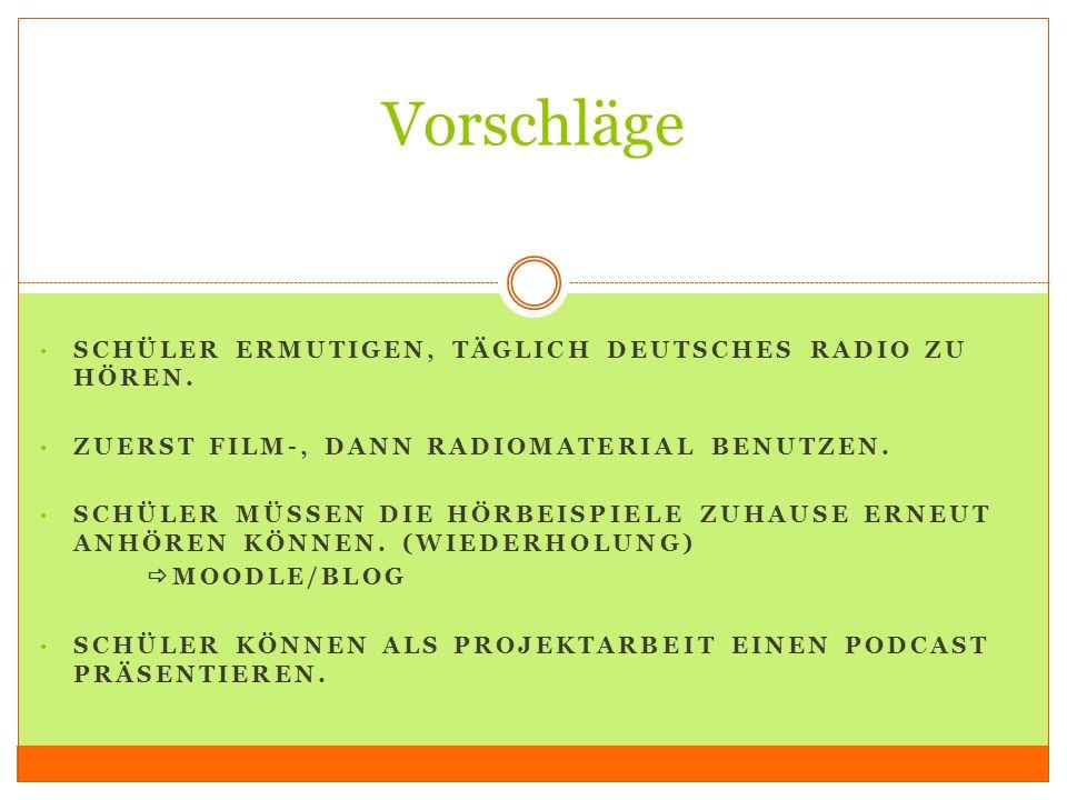 Vorschläge Schüler ermutigen, täglich deutsches Radio zu hören.