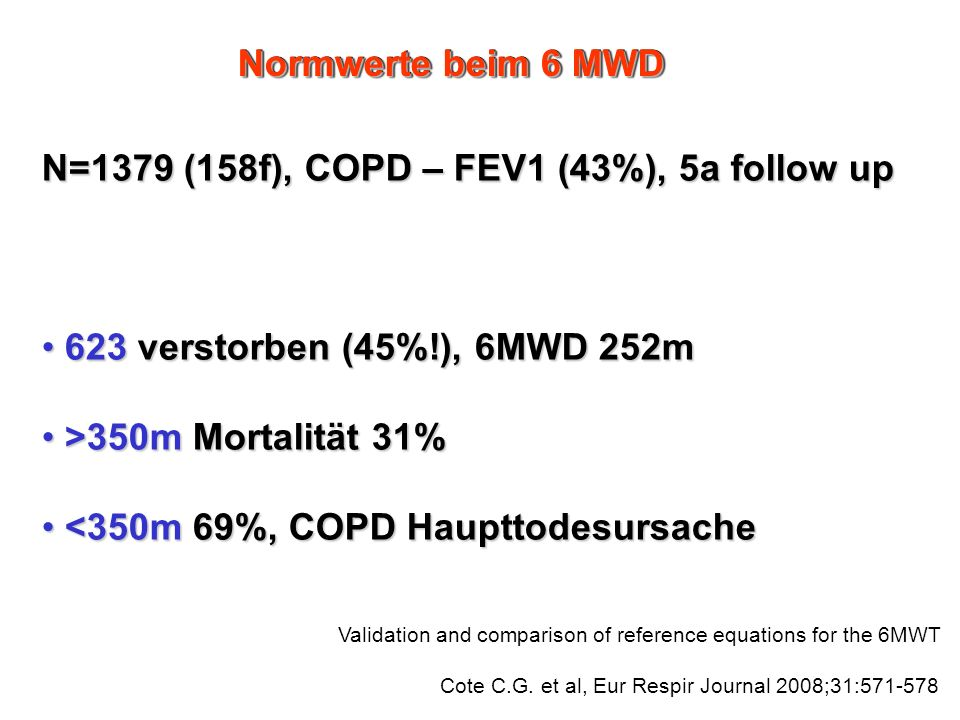 N=1379 (158f), COPD – FEV1 (43%), 5a follow up