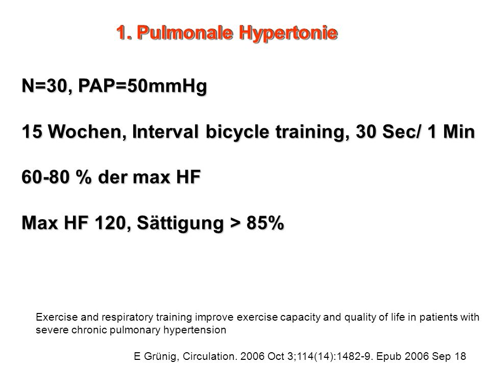 15 Wochen, Interval bicycle training, 30 Sec/ 1 Min 60-80 % der max HF
