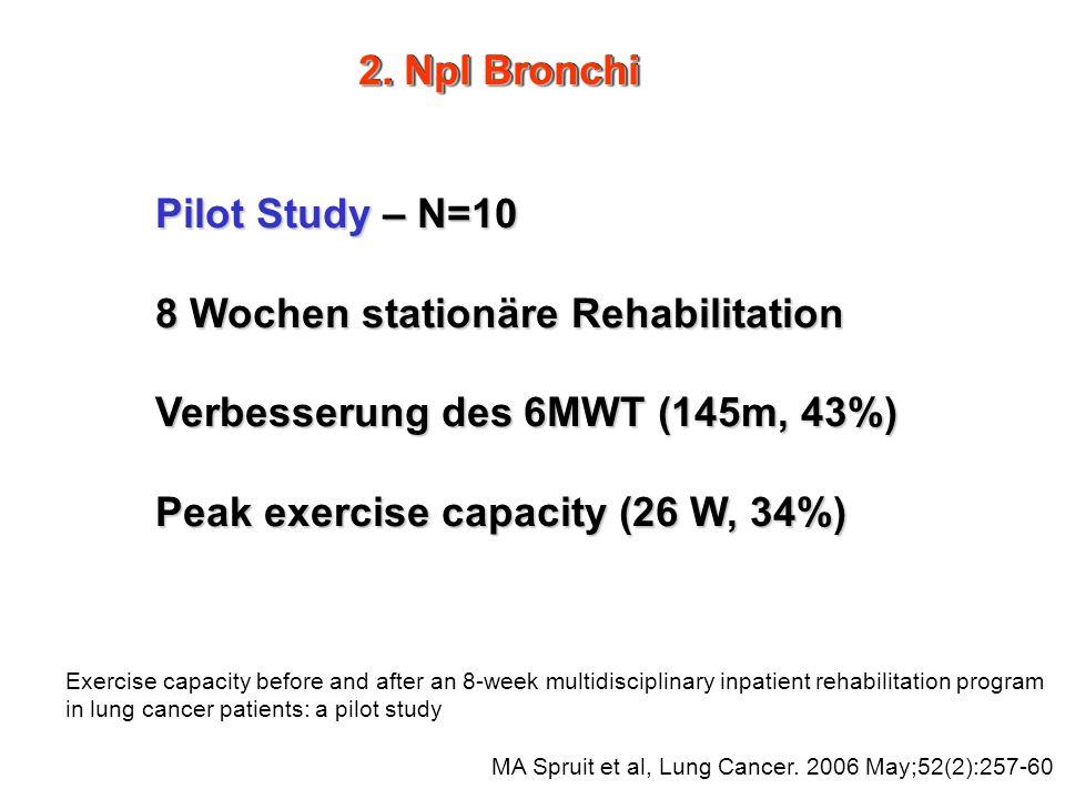 8 Wochen stationäre Rehabilitation Verbesserung des 6MWT (145m, 43%)