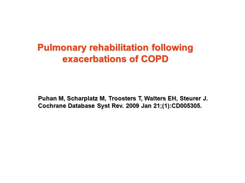 Pulmonary rehabilitation following