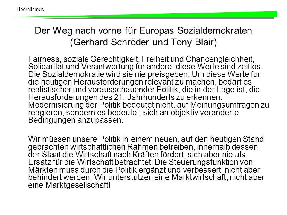 Der Weg nach vorne für Europas Sozialdemokraten (Gerhard Schröder und Tony Blair)