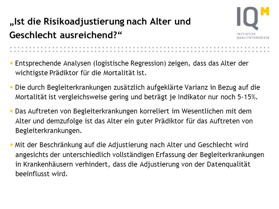 """""""Ist die Risikoadjustierung nach Alter und Geschlecht ausreichend"""