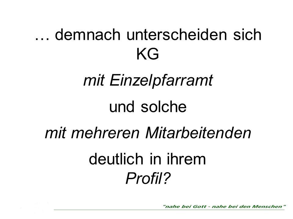 … demnach unterscheiden sich KG mit Einzelpfarramt und solche mit mehreren Mitarbeitenden deutlich in ihrem Profil
