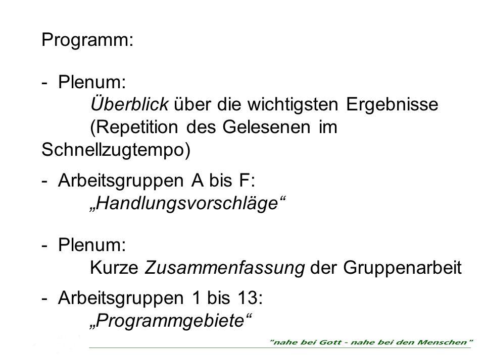 Programm: - Plenum:. Überblick über die wichtigsten Ergebnisse