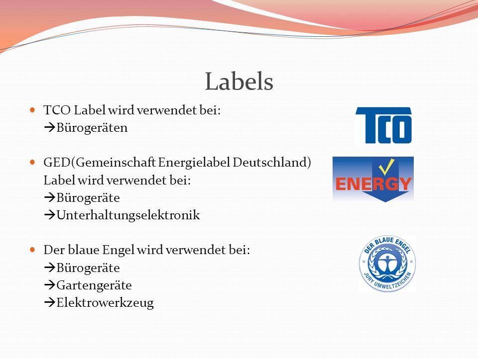 Labels TCO Label wird verwendet bei: Bürogeräten