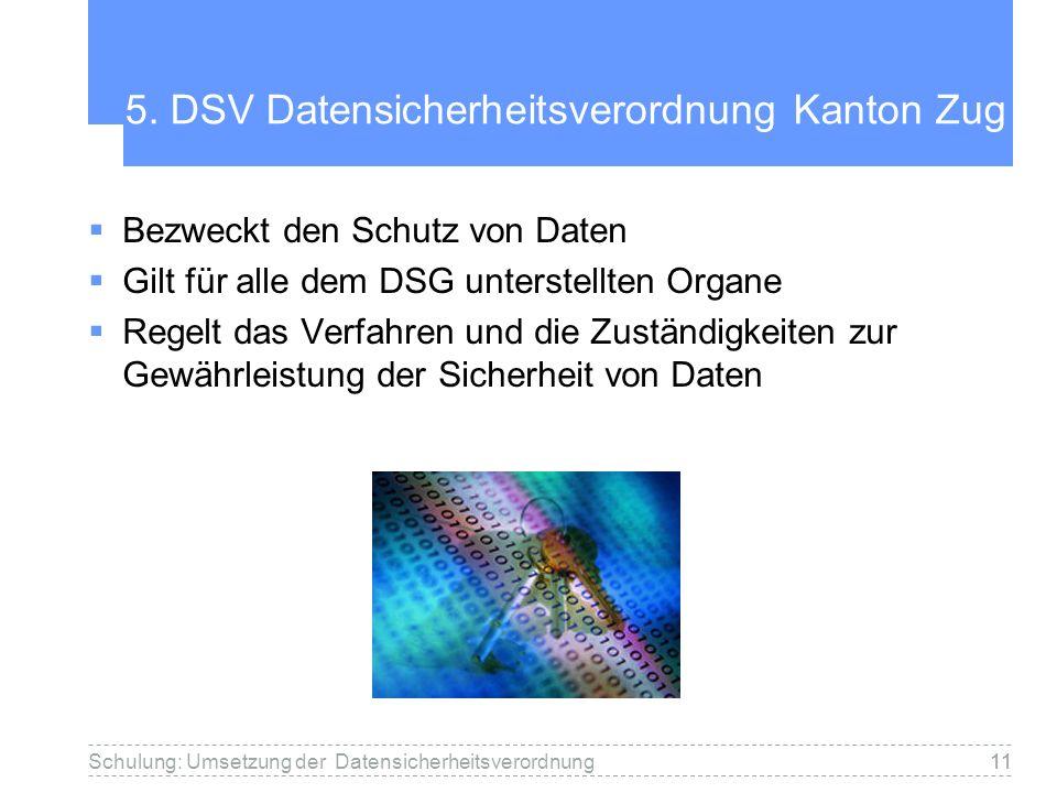 5. DSV Datensicherheitsverordnung Kanton Zug