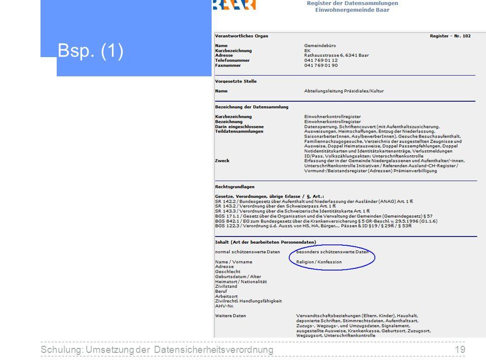 Bsp. (1) Schulung: Umsetzung der Datensicherheitsverordnung