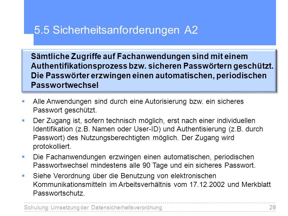 5.5 Sicherheitsanforderungen A2