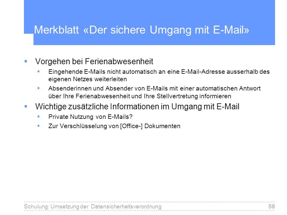 Merkblatt «Der sichere Umgang mit E-Mail»
