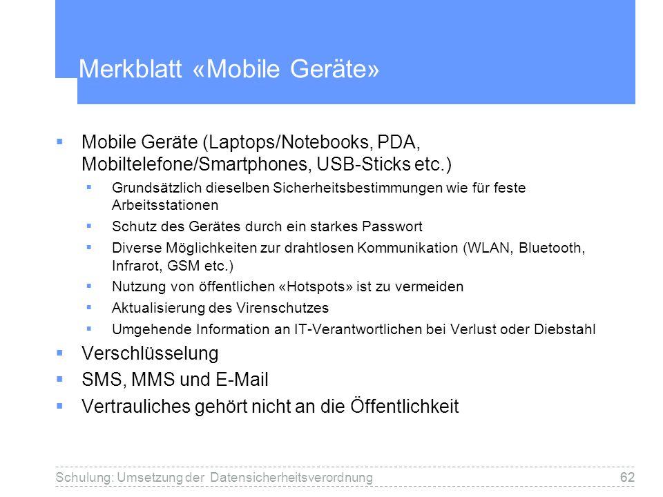 Merkblatt «Mobile Geräte»