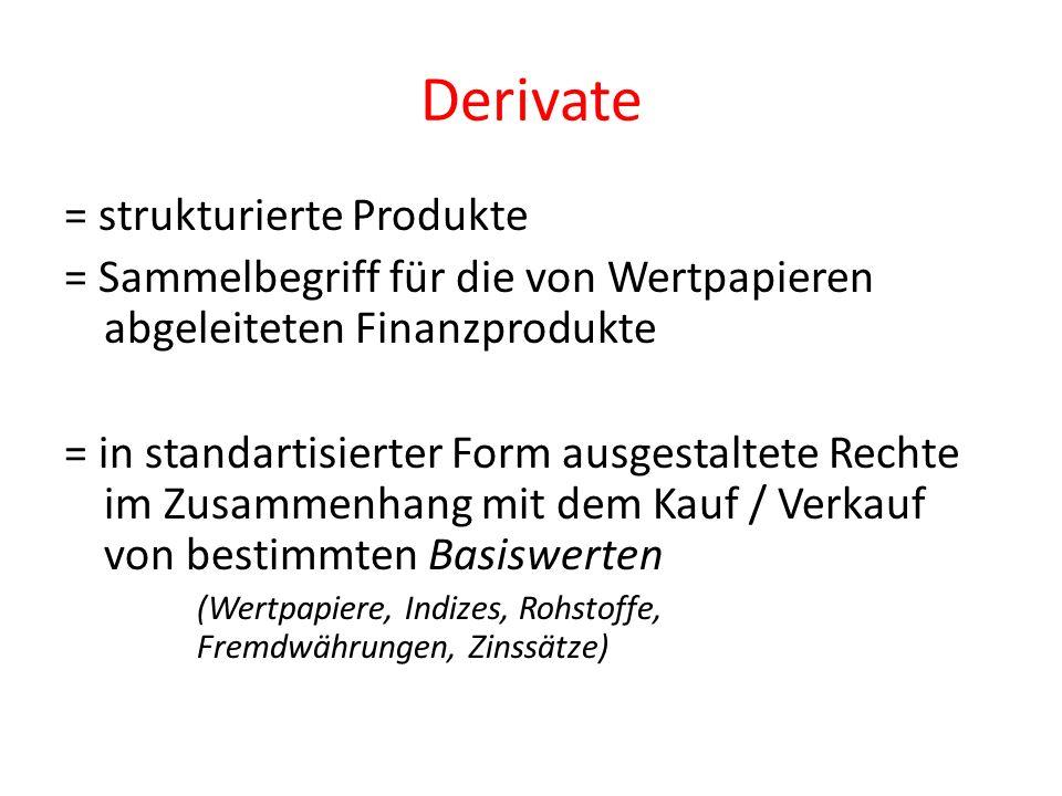 Derivate = strukturierte Produkte