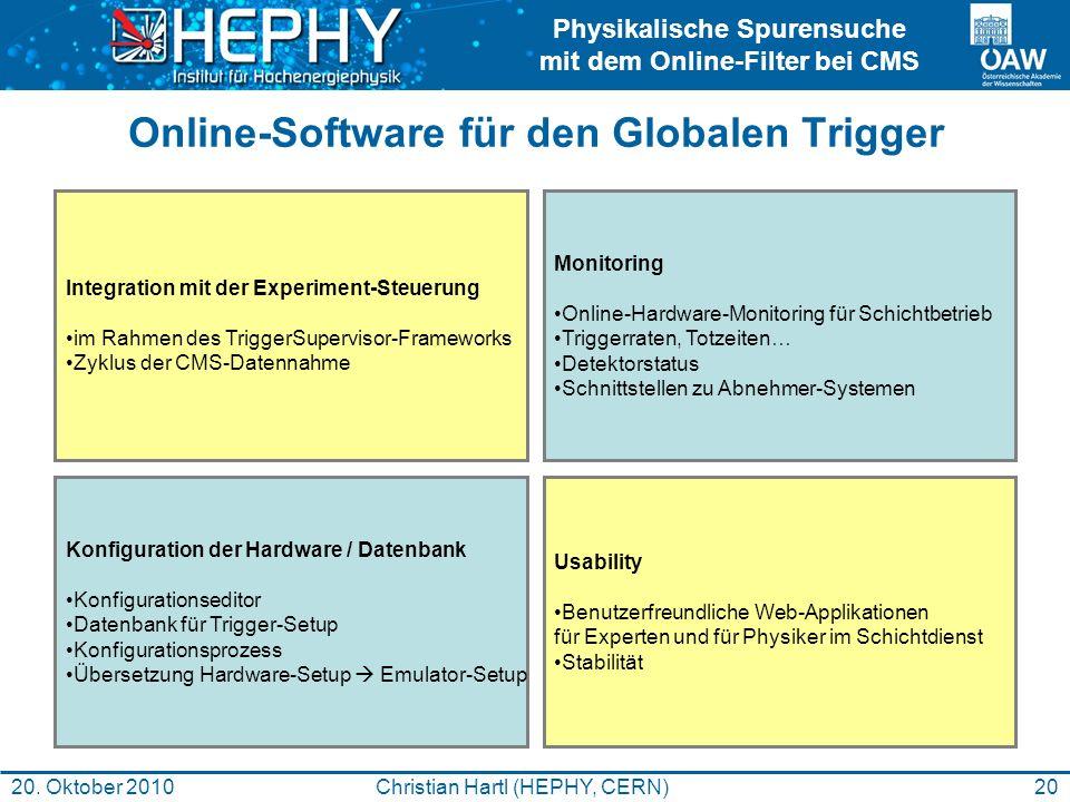 Online-Software für den Globalen Trigger