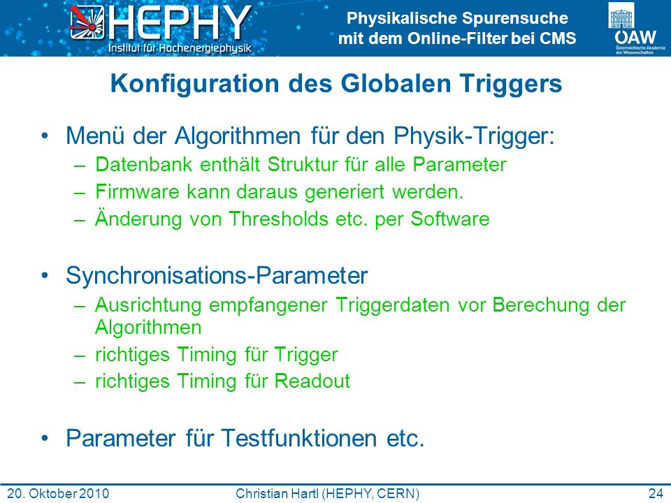 Konfiguration des Globalen Triggers