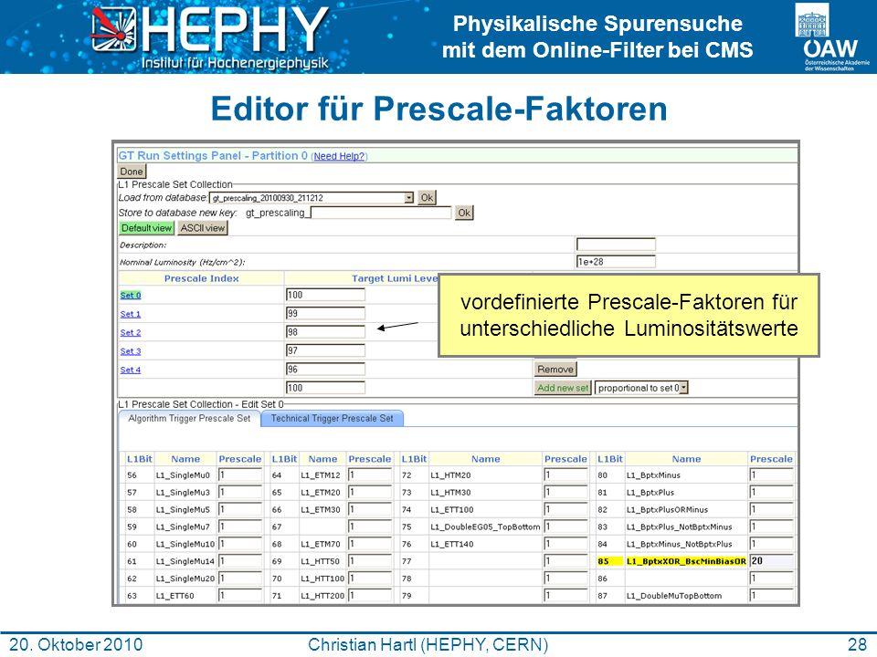 Editor für Prescale-Faktoren