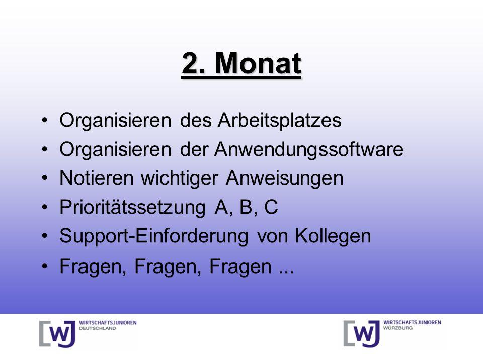 2. Monat Organisieren des Arbeitsplatzes