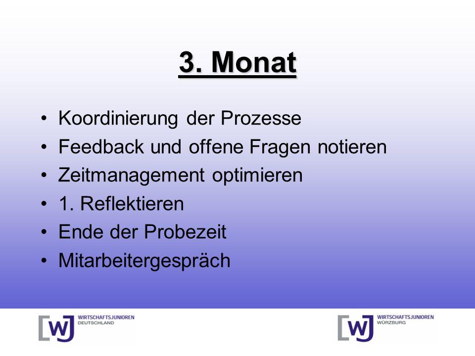 3. Monat Koordinierung der Prozesse