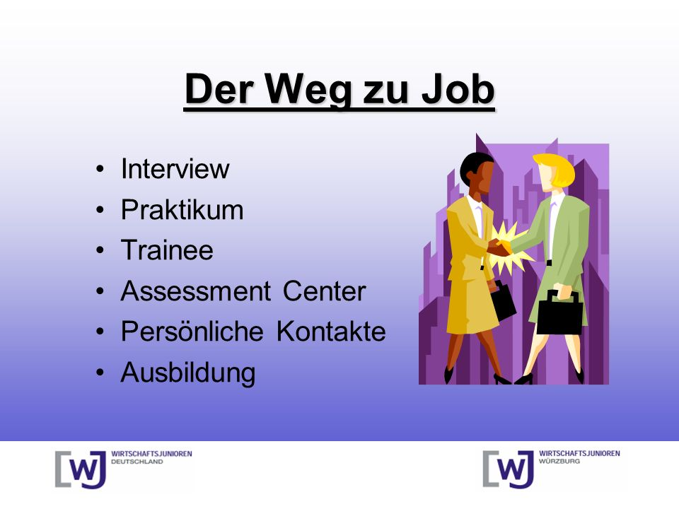 Der Weg zu Job Interview Praktikum Trainee Assessment Center