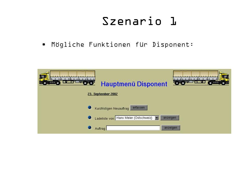 Szenario 1 Mögliche Funktionen für Disponent:
