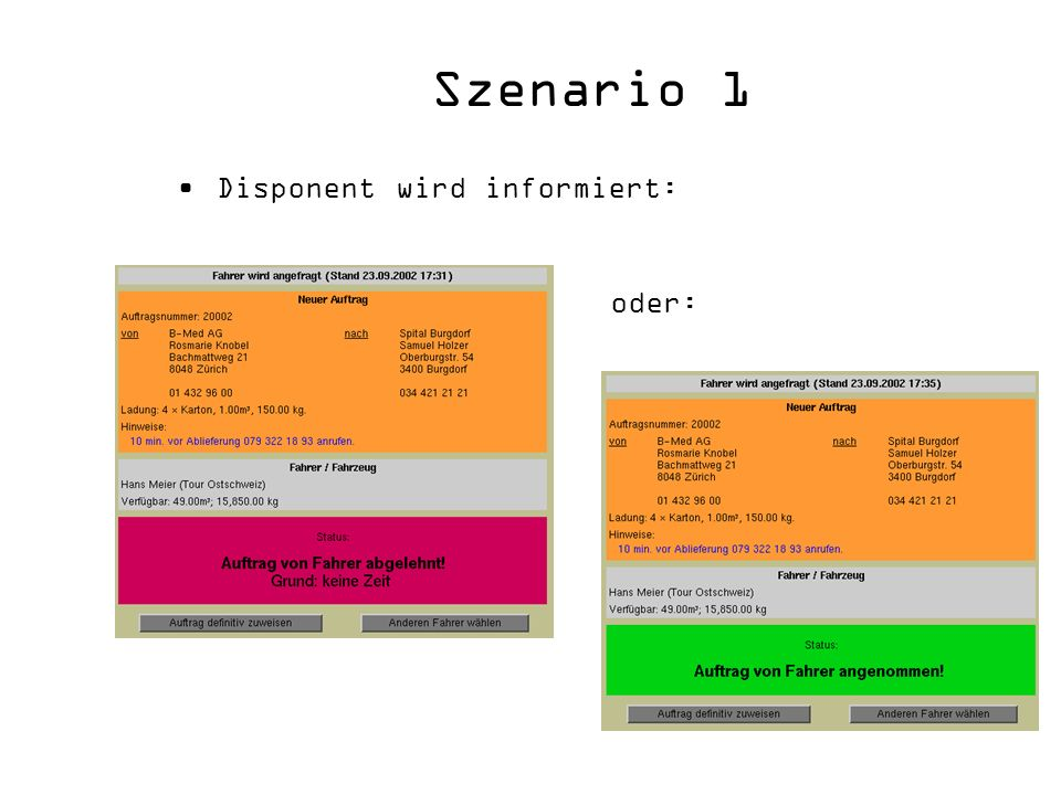 Szenario 1 Disponent wird informiert: oder: