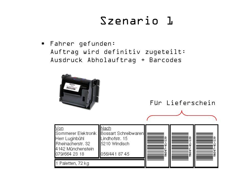 Szenario 1 Fahrer gefunden: Auftrag wird definitiv zugeteilt: Ausdruck Abholauftrag + Barcodes.