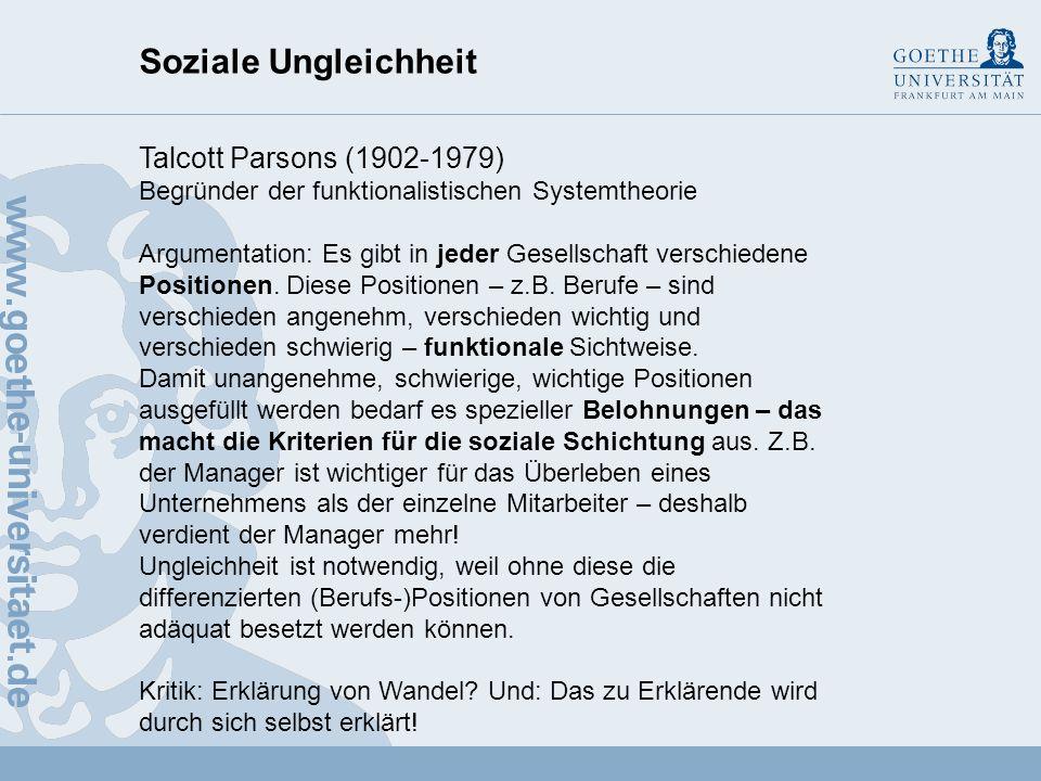 Soziale Ungleichheit Talcott Parsons (1902-1979)