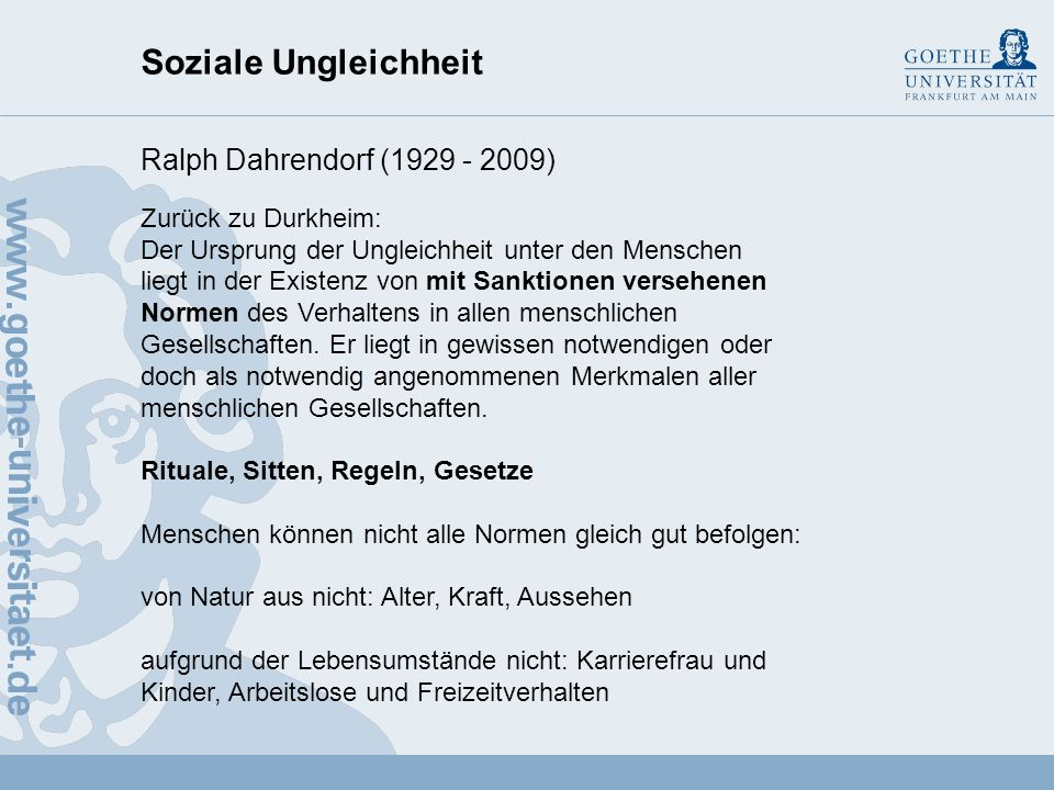 Soziale Ungleichheit Ralph Dahrendorf (1929 - 2009)
