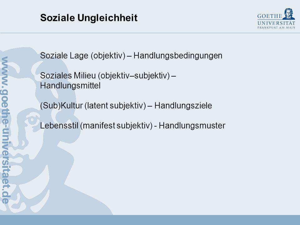 Soziale Ungleichheit Soziale Lage (objektiv) – Handlungsbedingungen
