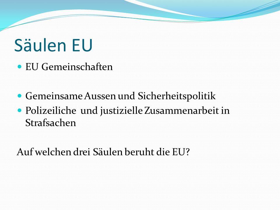 Säulen EU EU Gemeinschaften Gemeinsame Aussen und Sicherheitspolitik