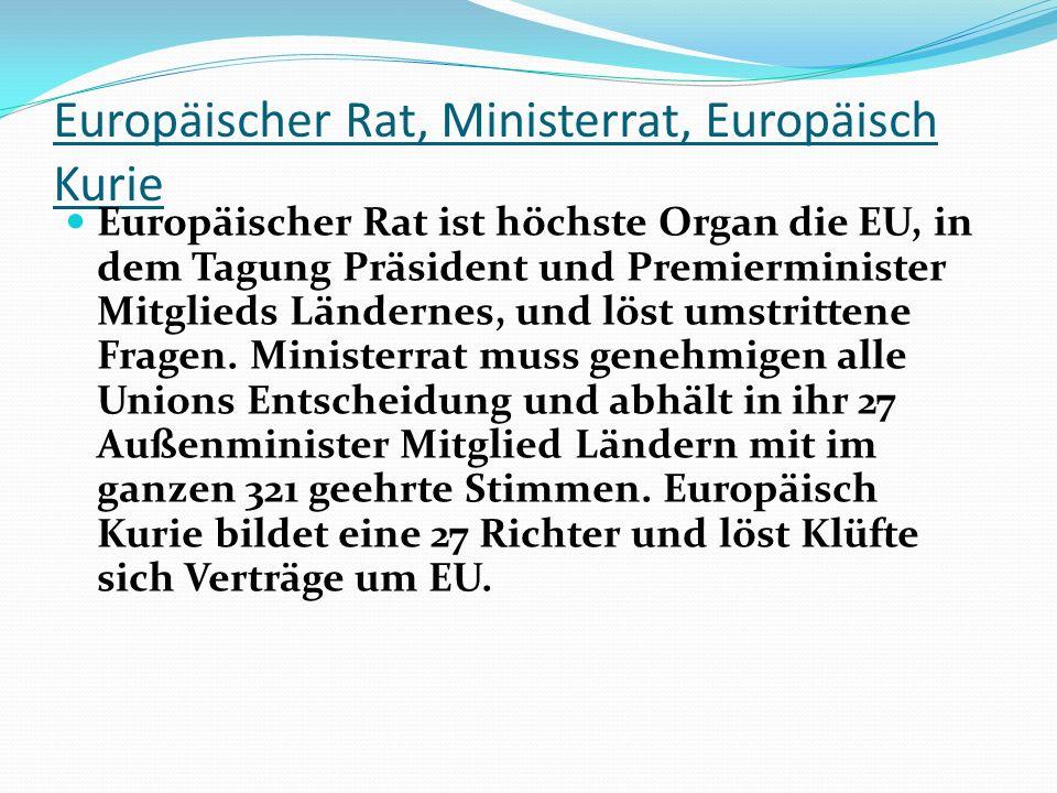 Europäischer Rat, Ministerrat, Europäisch Kurie