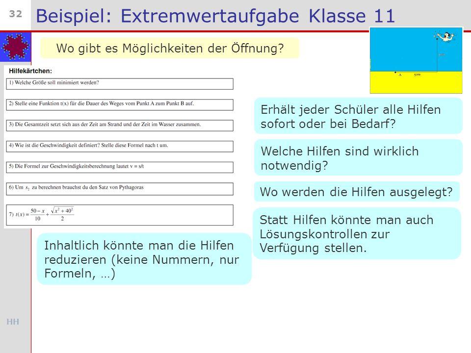 Beispiel: Extremwertaufgabe Klasse 11