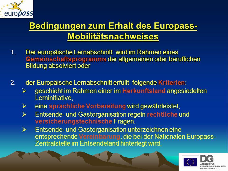 Bedingungen zum Erhalt des Europass-Mobilitätsnachweises