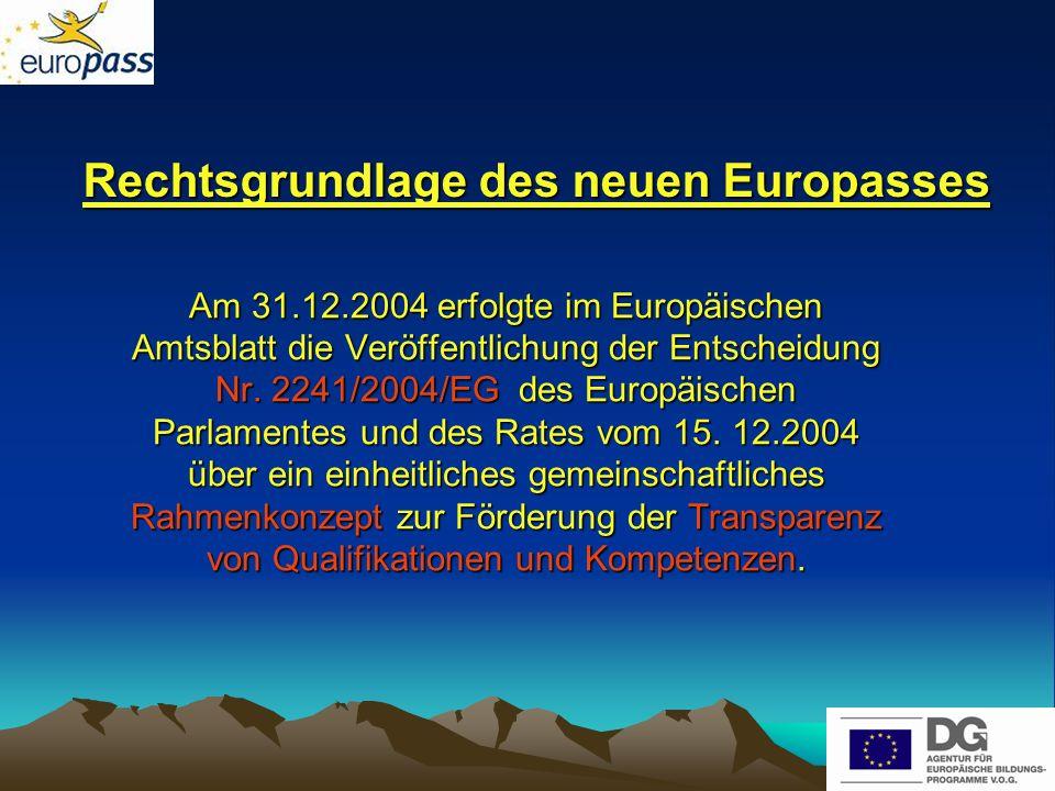 Rechtsgrundlage des neuen Europasses