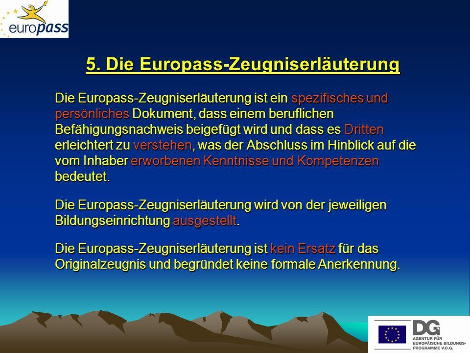 5. Die Europass-Zeugniserläuterung