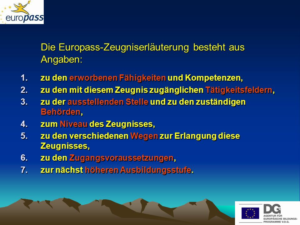 Die Europass-Zeugniserläuterung besteht aus Angaben: